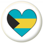 Bahamas Country Flag Heart 25mm Button Badge